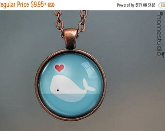 ON SALE - White Whale : Glass Dome Necklace, Pendant or Keychain Key Ring. Gift Present metal round art photo jewelry by HomeStudio