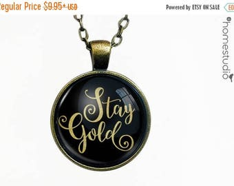 ON SALE - Stay Gold : Glass Dome Necklace, Pendant or Keychain Key Ring. Gift Present metal round art photo jewelry by HomeStudio