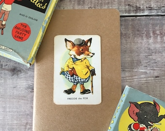 Fox Notebook with vintage playing card cover A6 size