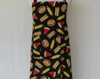 SALE - Mens, Unisex,  Full Apron, BBQ Style, Neck Loop, BBQ, Cookout, Hamburgers, Hot Dogs, Corn on the Cob, Watermelon