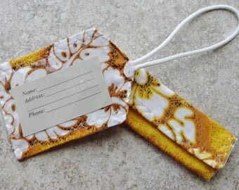 Luggage ID Tag, Luggage Handle Wrap, Travel Gift Set, Tropical Yellow Hibiscus Floral Fabric, Hawaiian, Beach, Island Style, Vacation Gift
