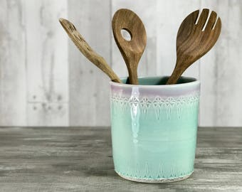 Ceramic utensil holder.  Lavender to aqua ombre glazed utensil holder. Porcelain utensil crock.  Utensil caddy.  Aqua kitchen decor. Unique.