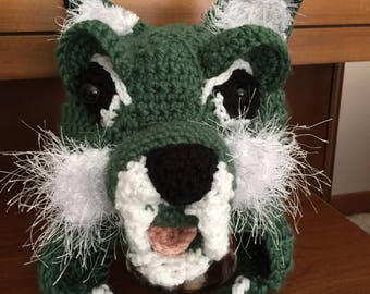 Baby // Crochet Hat // Ohio University // Team Color // Bobcat Face // Handmade // Bobcat Baby
