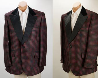 Vintage 1960s Tux Dinner Jacket Red and Black Diamond Pattern by Lord West Sz 44R