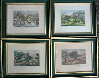 Gorgeous 4 Currier & Ives Prints - Green Wood Frames Gilt Gold Trim - Four Seasons American Homestead Scenic Art - Wall Gallery Collage Idea