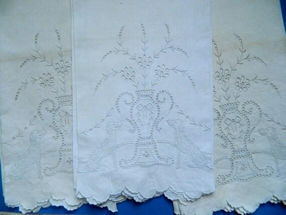 Vintage Elaborate Dog & Grecian Urn Embroidered Linen Tea Towel