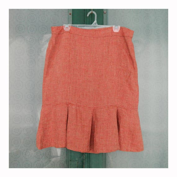 H & M Pleated Straight Skirt -14- Yarn-Dyed Russet Linen