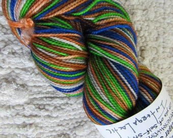 One Skein Hand Dyed Artisan Vesper Striping Yarn Exclusive Sock Club May 2012 Colorway Intergalactic Knitterly Things 100% Wool