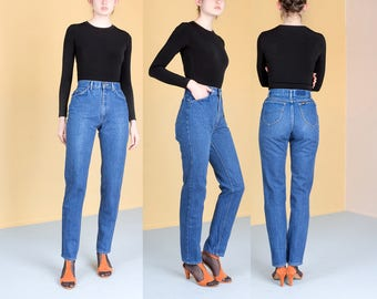 LEE HIGH WAIST jeans vintage women Skinny curvy riders Denim 90s 80s mom jeans / Size 5 6 / 27 28 waist /
