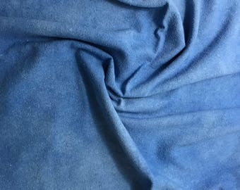 Hand Dyed Periwinkle Blue Raw Silk Noil Fabric - 1 Yard