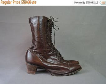 20% Sale - Vintage Early 1900s Boots, Leather Lace-up, Antique Edwardian Vintage, size 5-1/2 to 6, narrow