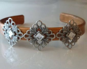 Queen of Diamonds copper bracelet with filagree and Swarovski diamonds adorning the band