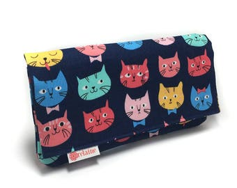 Cat wallet.  Colorful cat wallet. Women's wallet. Card wallets for women. Wallet with zippers. Vegan wallet.  Gift for her.