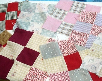 Vintage Feedsack Squares, Quilt Blocks, Authenic Feedsack Quilting Squares From The 30s
