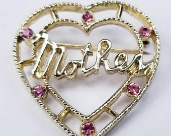 "Vintage Heart Shaped Gold Tone Brooch - With ""Mother"" in Cursive and Pink Rhinestones Around the Outer Edge"