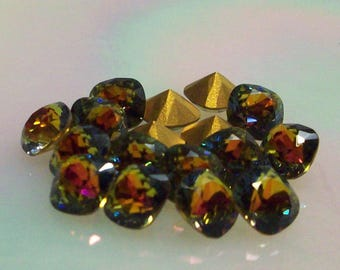 2pc 8mm Vitrail Medium Squares Article 4471 Vintage Swarovski Many Facets for Spectacular Reflection and Sparkle