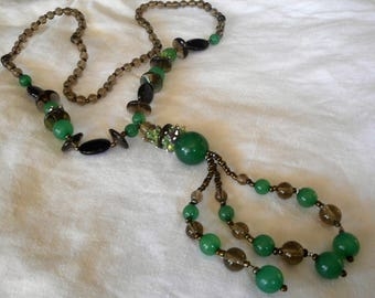 Tassel Jade Green & Black Glass Bead Costume Jewelry Necklace