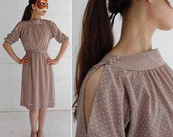 Vintage 70's Lightweight Soft Brown Polka Dot Dress with Cut-out Shoulders | Extra-Small/Small