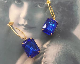 Vintage CZECH Jewels Faceted Stones Sapphire Blue In a Brass Prong Setting or part of an Gold Plated Earring kit 13 x18mm  971GOL x2