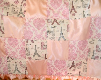Baby Girl Quilt Shabby Chic Baby Girl Patchwork Quilt