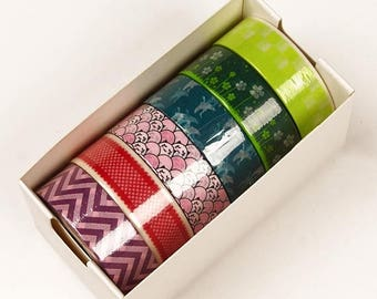 STOREWIDE SALE 6 piece packs 10 Yards of Colorful Japanese Inspired Pattern Washi Tape Assortment