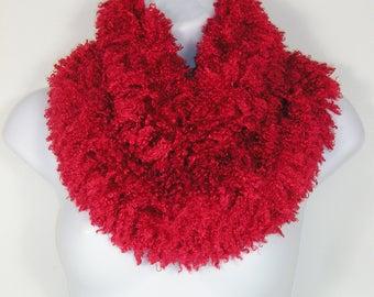 Red Faux Fur Cowl Red Faux Fur Scarf Faux Fur Scarves Boho Fur Scarves Red Faux Fur Scarves Red Fake Fur Scarves Vegan Fur