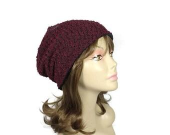 FREE SHIPPING Burgundy Knit Slouchy Beanie Burgundy and Black Boucle Knit Hat Wine Boho Slouchy Hat Wine Slouchy Hat Women's Slouchy Beanie