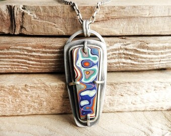 Fordite necklace, Detroit Agate necklace, fordite jewelry, girlfriend gift, wife gift, sterling silver statement necklace, gemstone jewelry