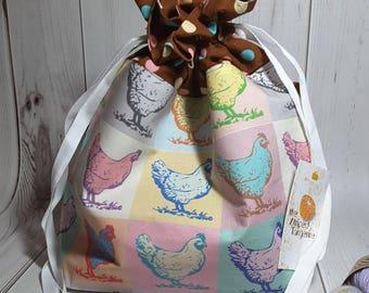 Pop Art Chickens Drawstring Project Bag- Medium- Knitting- Crochet- Needlearts- Crafting- Artist