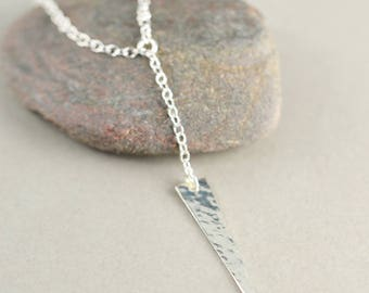 Hammered Triangle Necklace, Silver Modern Necklace, Y Necklace