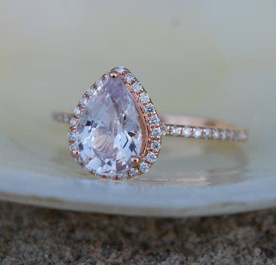 Sapphire engagement rings by eidelprecious 500000 engagement ring peach champagne sapphire engagement ring 14k rose gold 216ct pear peach junglespirit Images