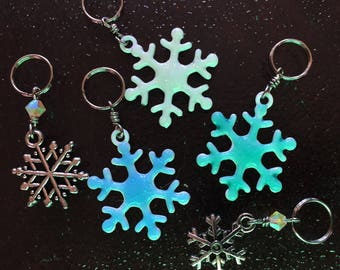 Falling Snowflakes: Set of 6 Snowflake Stitch Markers for Knitters & Crocheters