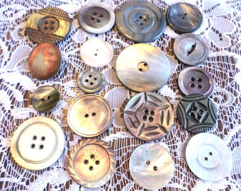 18 SHABBY Pearl Buttons Some Engraved Nice MOP Pearl Buttons