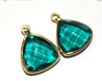 50% Off Sale 1 Pc 11x11 mm Teal Blue Quartz Bezel Set Trillion Shape Gemstone Pendant, Gemstone Charm Connector, Single or Double Loop Penda