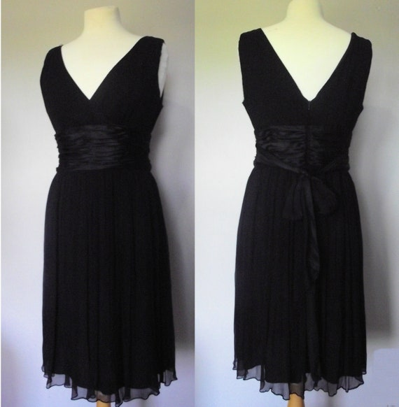 Maggy London Vintage Black Silk Chiffon Cocktail Dress // Sleeveless // Size 12