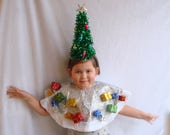 Ugly Christmas Cape Tree Skirt with Tree Headband Holiday Ugly Sweater Party Tacky Ornament Presents Free Shipping Poncho One Size Fits All