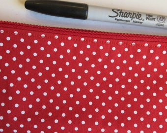 Red spotty pencil case - red spotty pouch