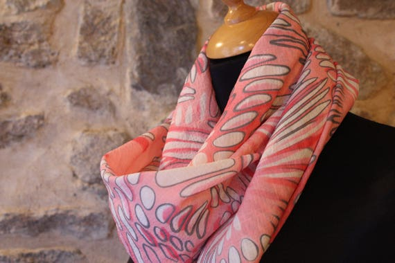 Viscose white bubble pink and gray, square scarf shawl
