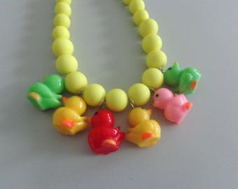 Yellow ducks necklace, neon necklace