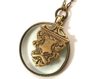 Long magnifying glass necklace with vintage Victorian watch fob accent