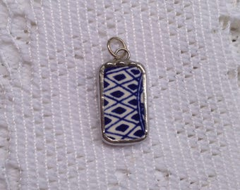 Broken China Jewelry - Blue and White Pendant - Rectangle