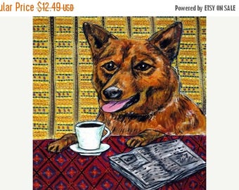 20 % off storewide Finnish Spitz at the Coffee Shop picture Dog Art Tile Coaster Gift