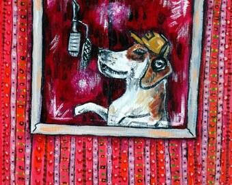 20 % off storewide Beagle music dog art PRINT  JSCHMETZ modern abstract folk pop art american ART gift