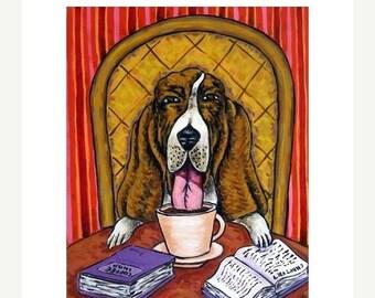 20% off storewide Basset Hound at the Coffee Shop Dog Art Print