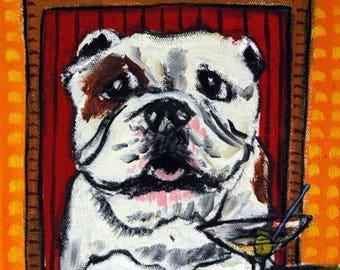 20% off storewide BULLDOG art PRINT, martin art print, poster gift, modern folk art, dog, dog art,  dog print