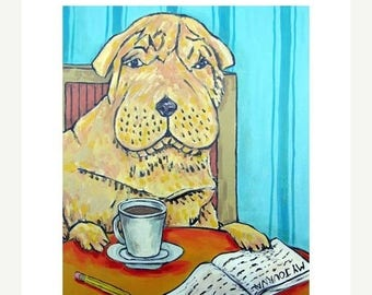 20% off storewide Shar Pei at the Coffee Shop Dog Art Print  JSCHMETZ american pop art modern folk art gift