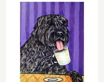 20% off Bouvier Des Flandres at the Coffee Shop Dog Art Print