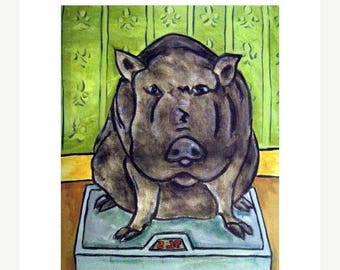 20% off Pot Belly Pig in the Bathroom Animal Art Print