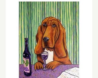 20% off Bloodhound at the Wine Bar Dog Art Print