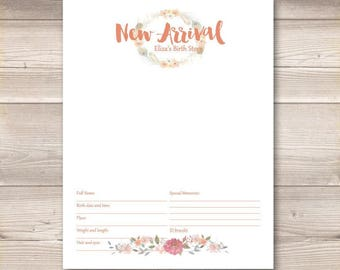 Watercolor Wreath Coral Pink Digital Baby Book Pages